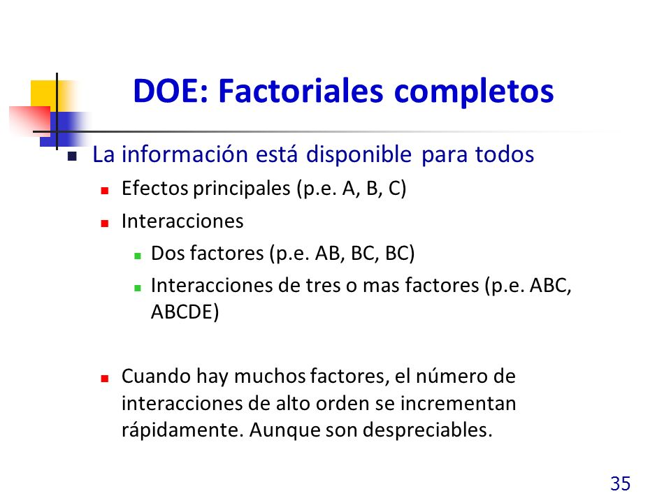 DOE: Factoriales completos