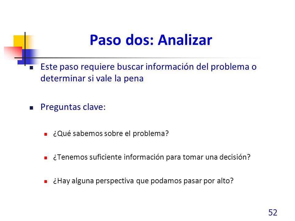 Paso dos: Analizar Este paso requiere buscar información del problema o determinar si vale la pena.