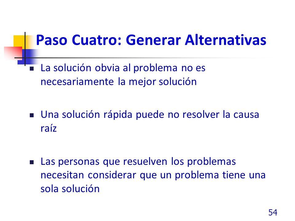 Paso Cuatro: Generar Alternativas