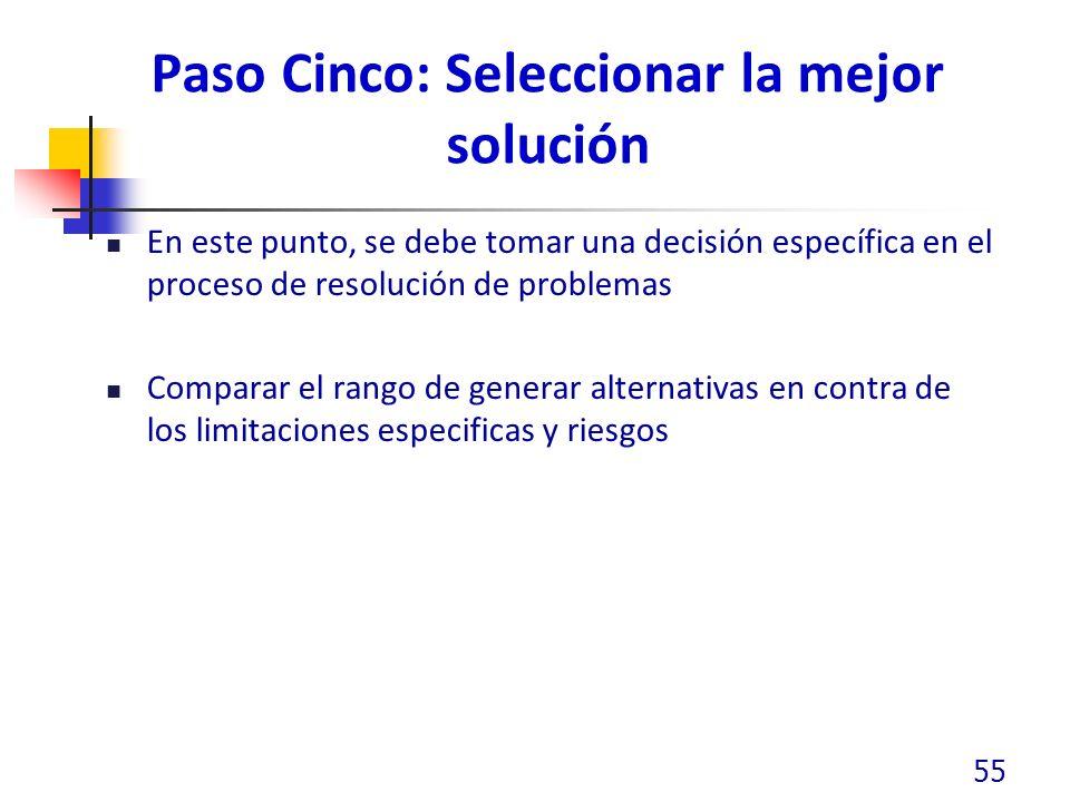 Paso Cinco: Seleccionar la mejor solución