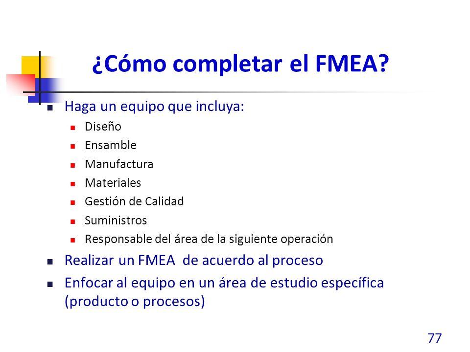 ¿Cómo completar el FMEA