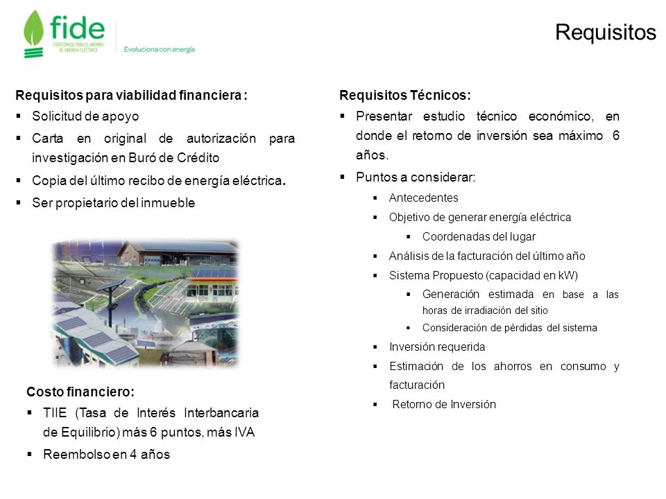 Requisitos Requisitos para viabilidad financiera : Solicitud de apoyo