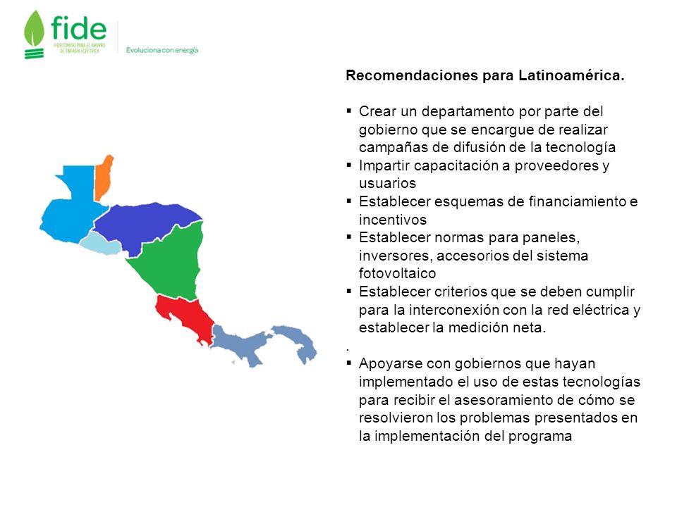 Recomendaciones para Latinoamérica.