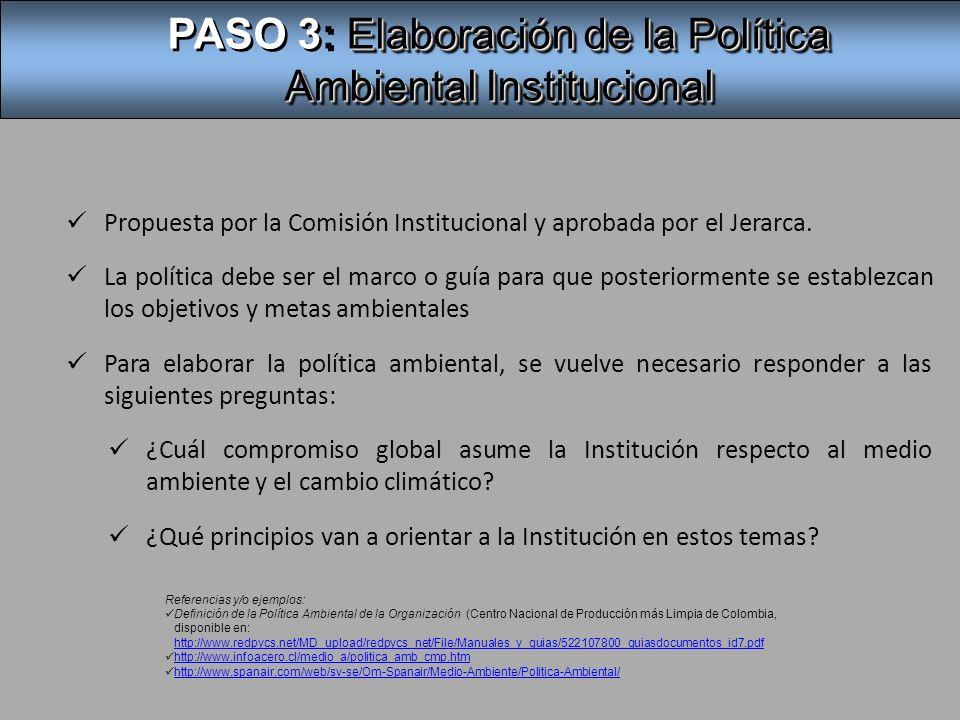 PASO 3: Elaboración de la Política Ambiental Institucional