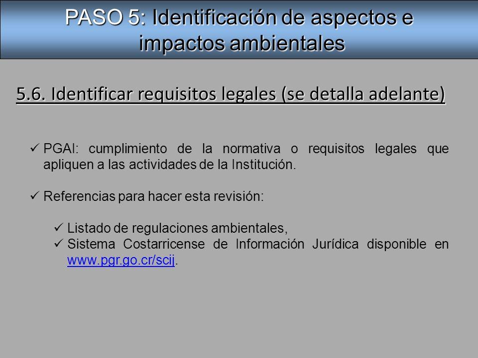 PASO 5: Identificación de aspectos e