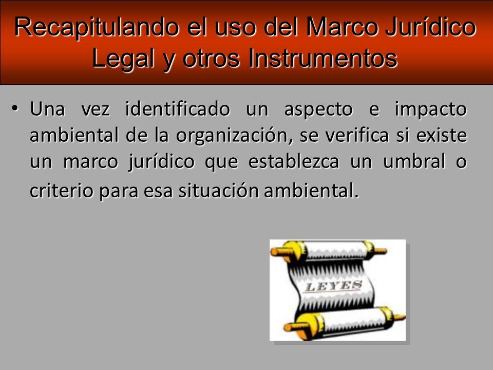 Recapitulando el uso del Marco Jurídico Legal y otros Instrumentos
