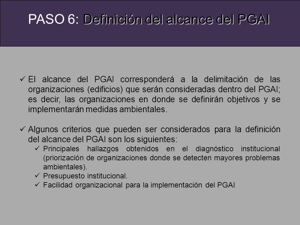 PASO 6: Definición del alcance del PGAI