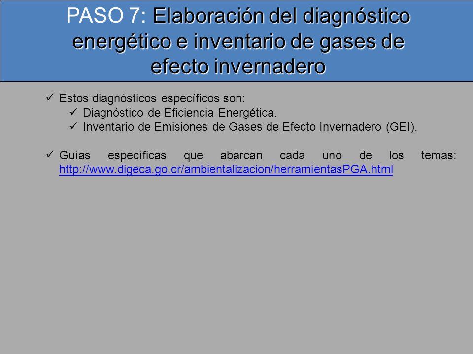 PASO 7: Elaboración del diagnóstico energético e inventario de gases de efecto invernadero