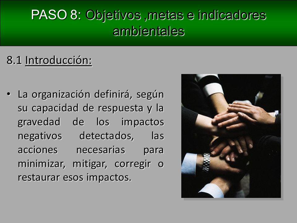 PASO 8: Objetivos ,metas e indicadores ambientales