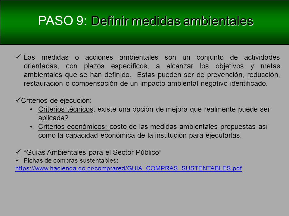 PASO 9: Definir medidas ambientales