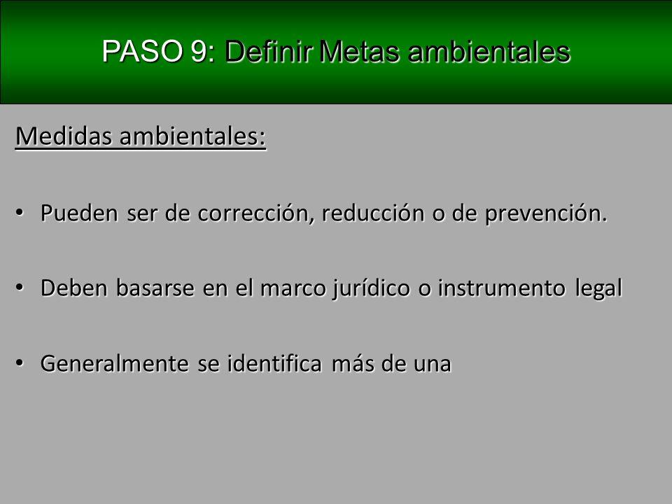 PASO 9: Definir Metas ambientales