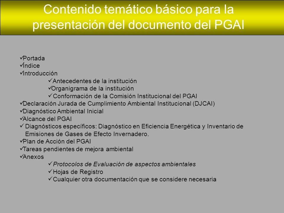 Contenido temático básico para la presentación del documento del PGAI