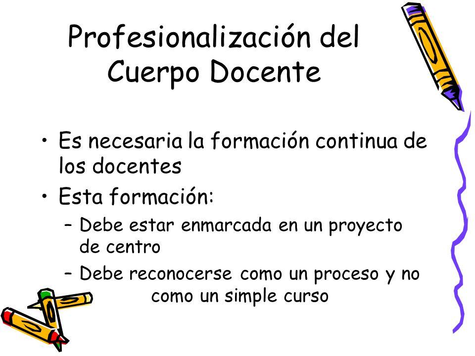 Profesionalización del Cuerpo Docente