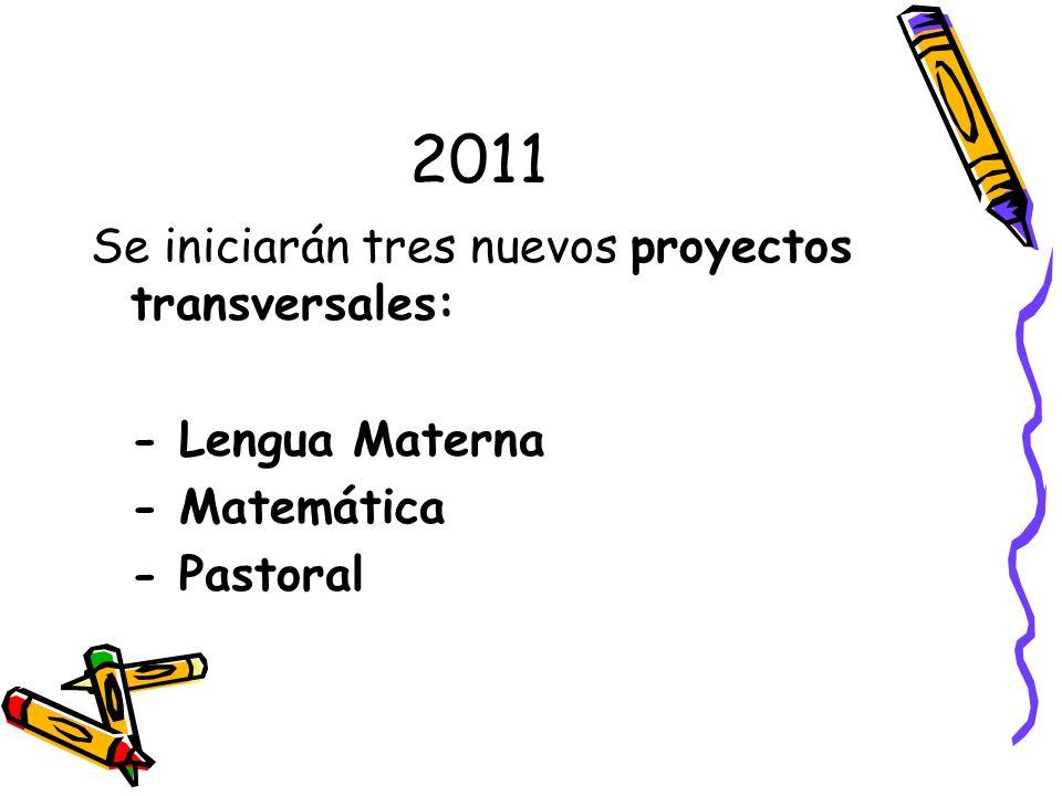 2011 Se iniciarán tres nuevos proyectos transversales: