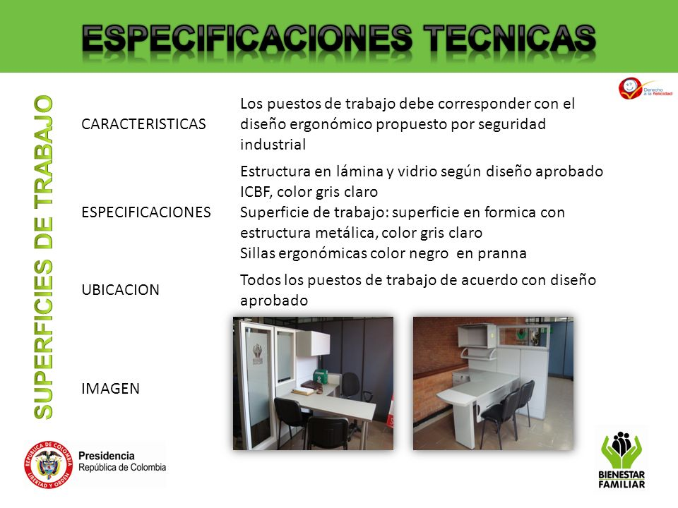 ESPECIFICACIONES TECNICAS SUPERFICIES DE TRABAJO