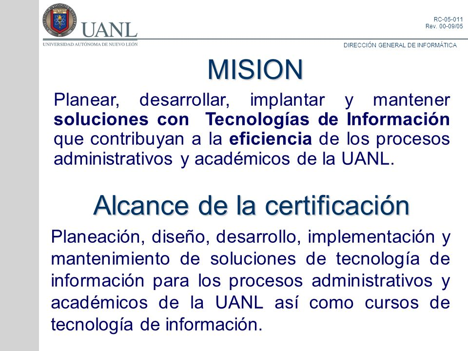 Alcance de la certificación