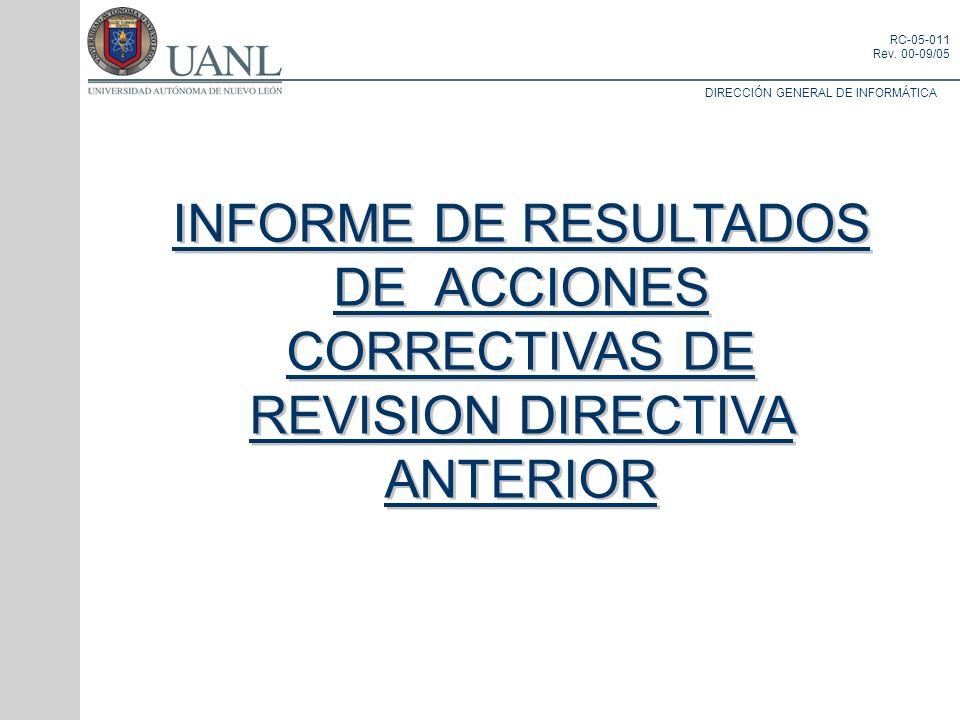 INFORME DE RESULTADOS DE ACCIONES CORRECTIVAS DE REVISION DIRECTIVA ANTERIOR