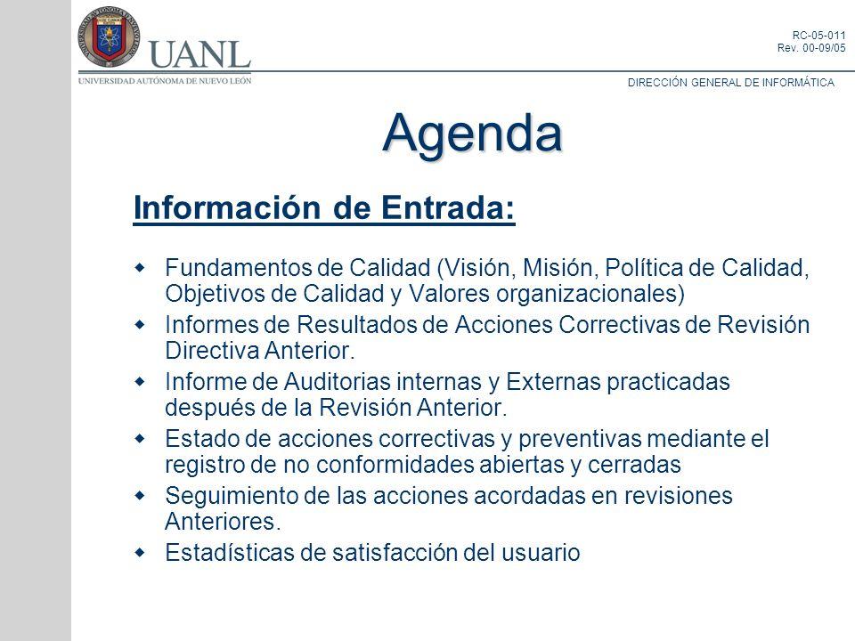 Agenda Información de Entrada: