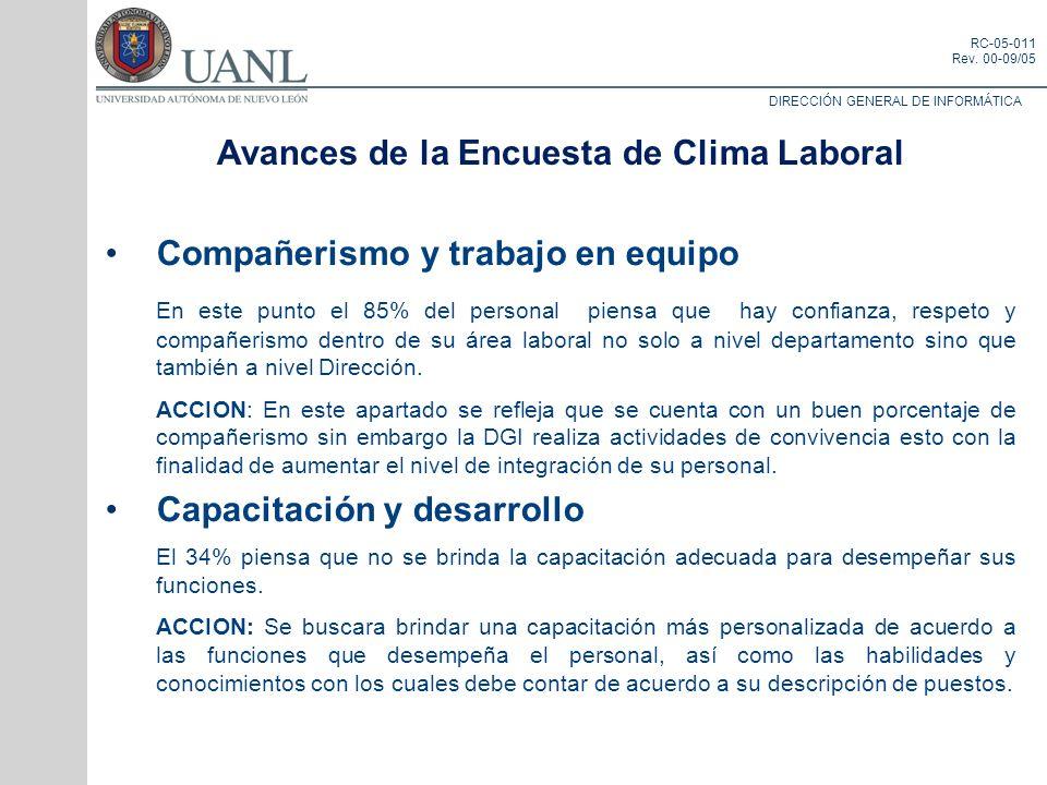Avances de la Encuesta de Clima Laboral