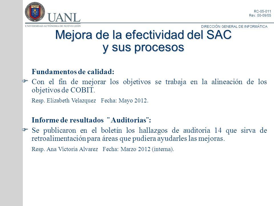 Mejora de la efectividad del SAC y sus procesos