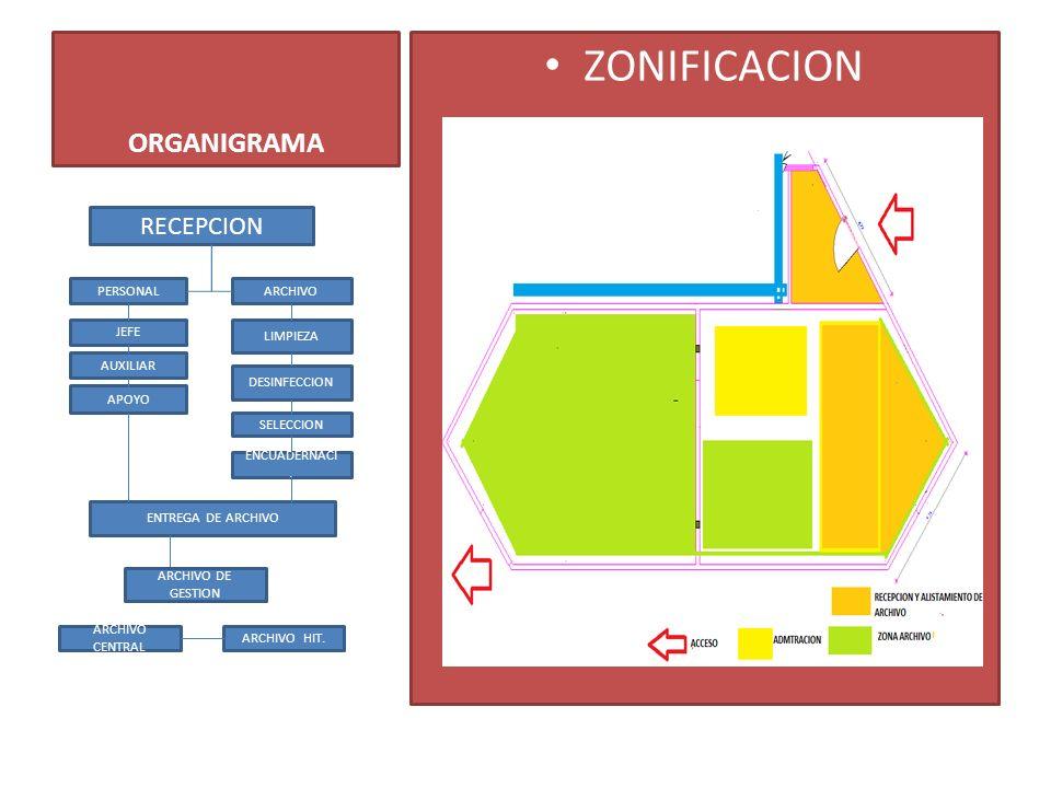 ZONIFICACION ORGANIGRAMA RECEPCION PERSONAL ARCHIVO JEFE LIMPIEZA