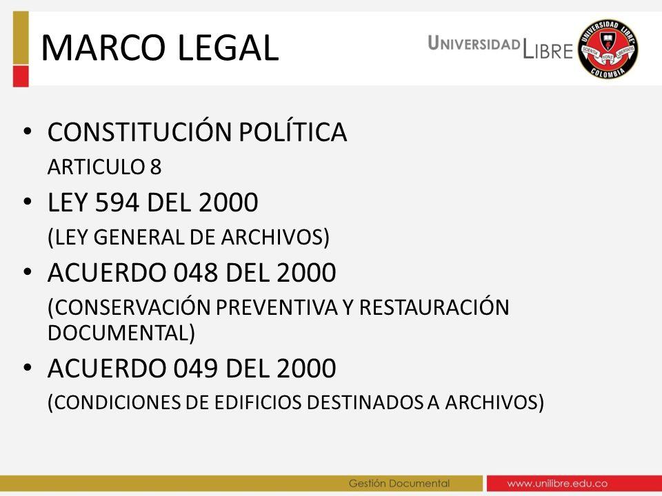 MARCO LEGAL CONSTITUCIÓN POLÍTICA LEY 594 DEL 2000