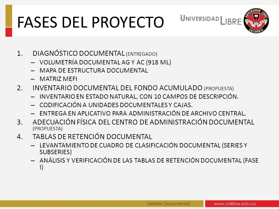 FASES DEL PROYECTO DIAGNÓSTICO DOCUMENTAL (ENTREGADO)
