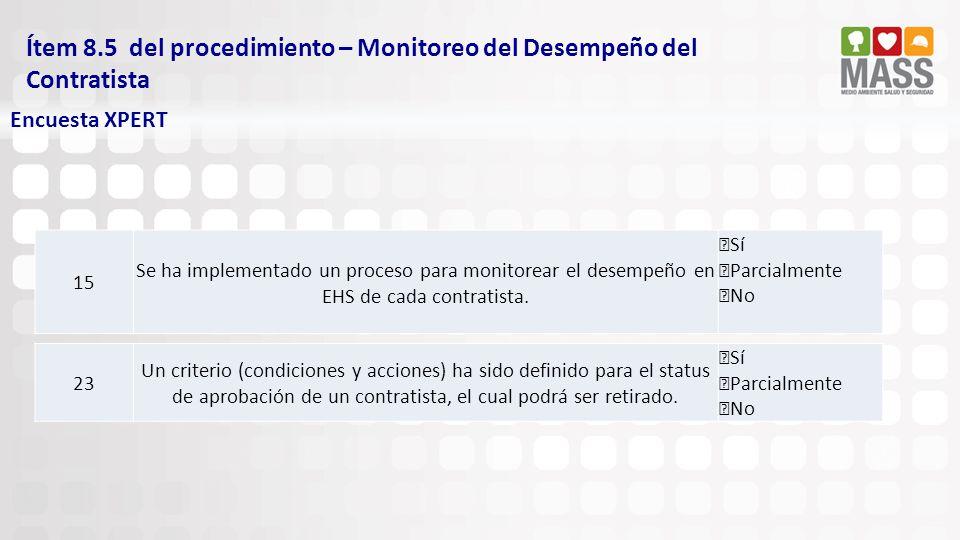 Ítem 8.5 del procedimiento – Monitoreo del Desempeño del Contratista