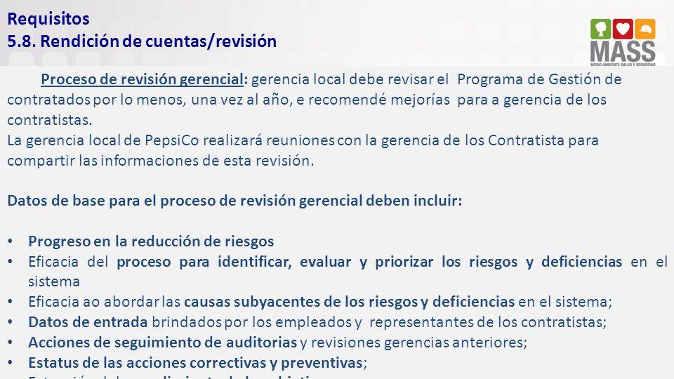 5.8. Rendición de cuentas/revisión