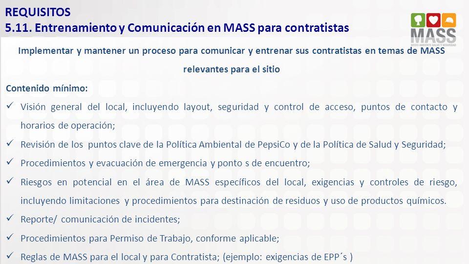 5.11. Entrenamiento y Comunicación en MASS para contratistas
