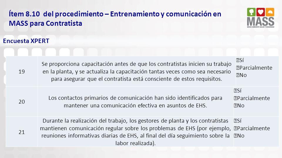 Ítem 8.10 del procedimiento – Entrenamiento y comunicación en MASS para Contratista