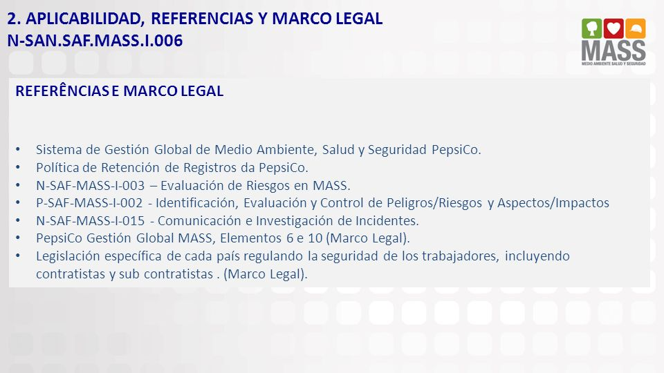 2. APLICABILIDAD, REFERENCIAS Y MARCO LEGAL N-SAN.SAF.MASS.I.006