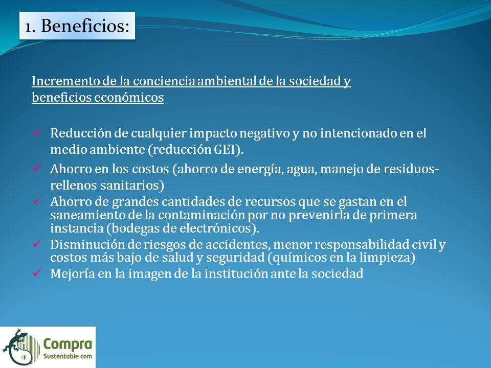 1. Beneficios: Incremento de la conciencia ambiental de la sociedad y