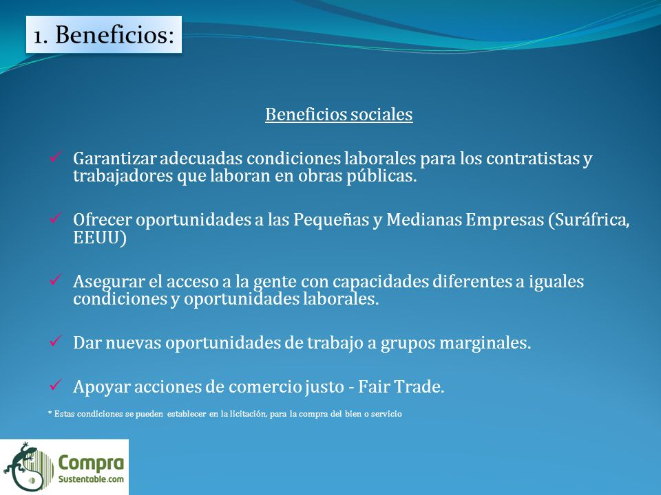 1. Beneficios: Beneficios sociales