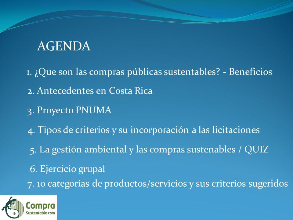 AGENDA 1. ¿Que son las compras públicas sustentables - Beneficios