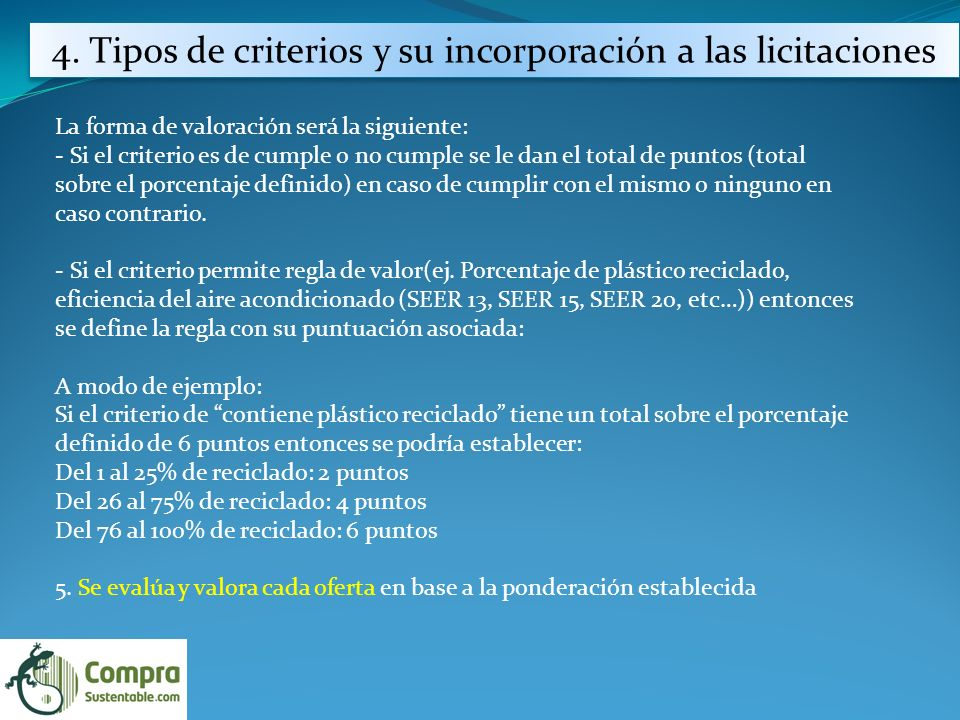 4. Tipos de criterios y su incorporación a las licitaciones