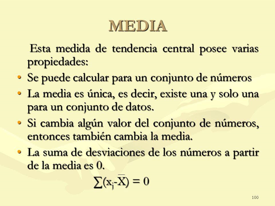 MEDIA Esta medida de tendencia central posee varias propiedades: