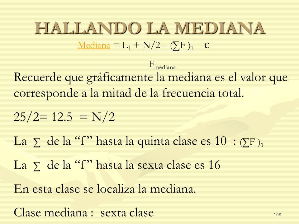 HALLANDO LA MEDIANA Mediana = L1 + N/2 – (∑F )1 c. Fmediana.