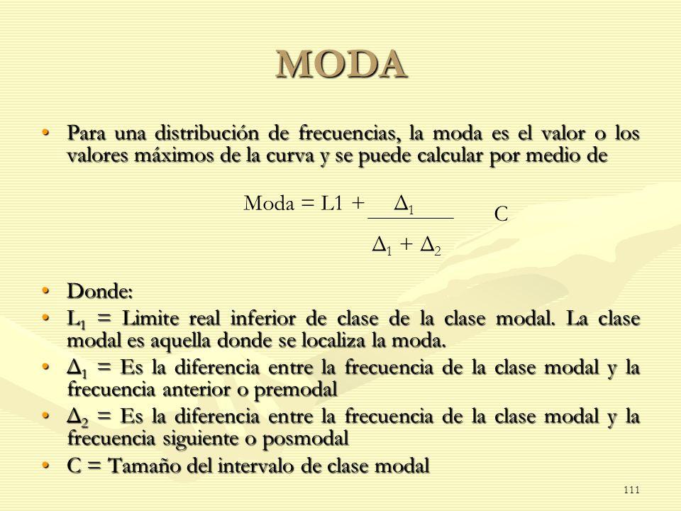 MODA Para una distribución de frecuencias, la moda es el valor o los valores máximos de la curva y se puede calcular por medio de.