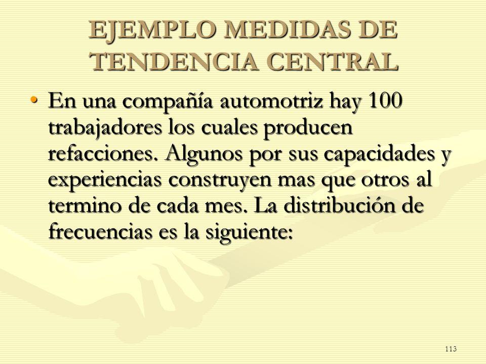 EJEMPLO MEDIDAS DE TENDENCIA CENTRAL