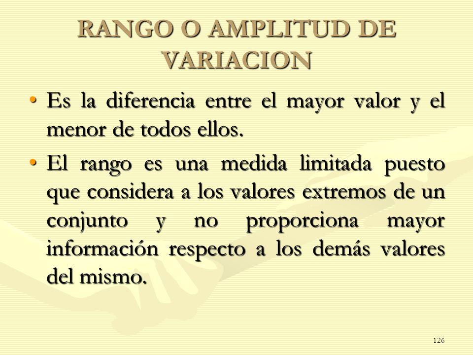 RANGO O AMPLITUD DE VARIACION