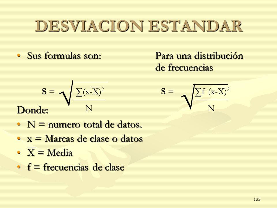 √ √ DESVIACION ESTANDAR