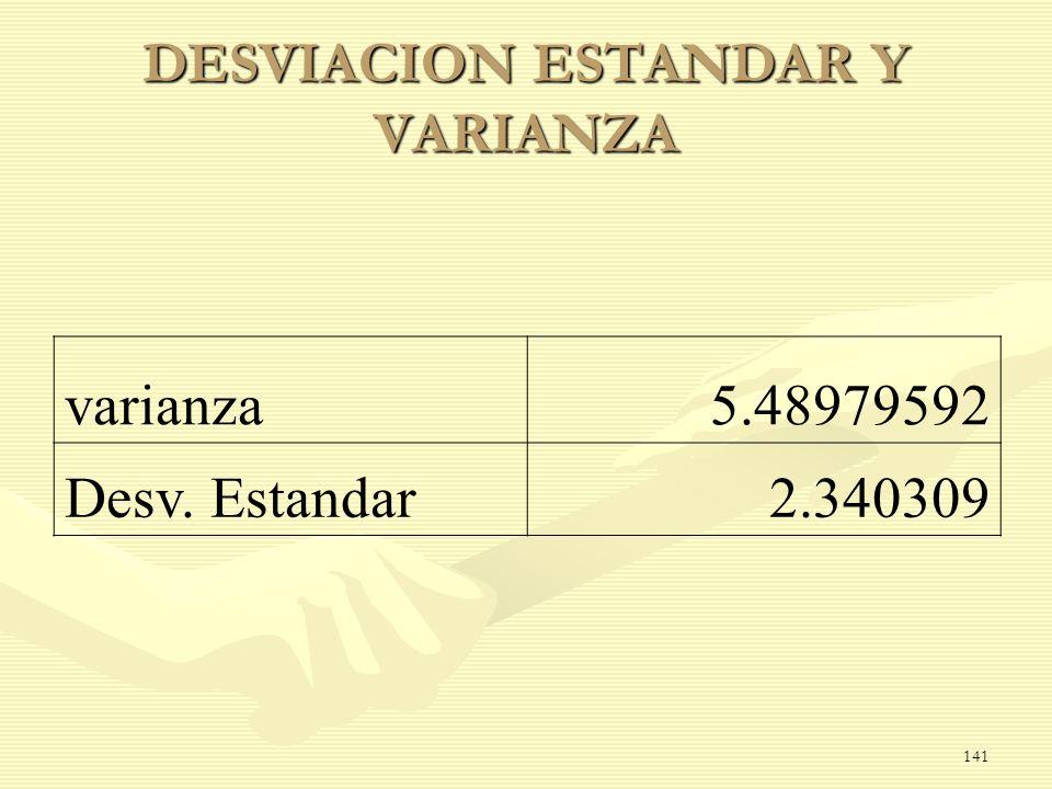 DESVIACION ESTANDAR Y VARIANZA