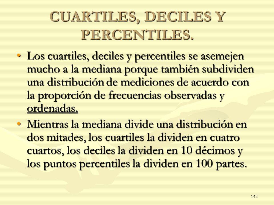 CUARTILES, DECILES Y PERCENTILES.