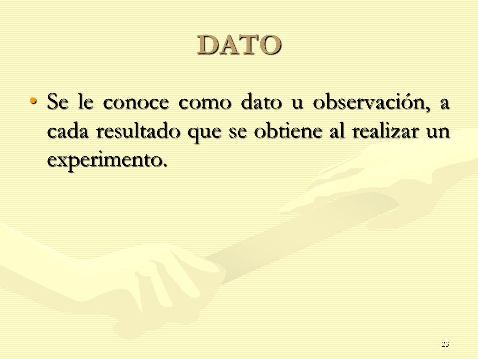 DATO Se le conoce como dato u observación, a cada resultado que se obtiene al realizar un experimento.