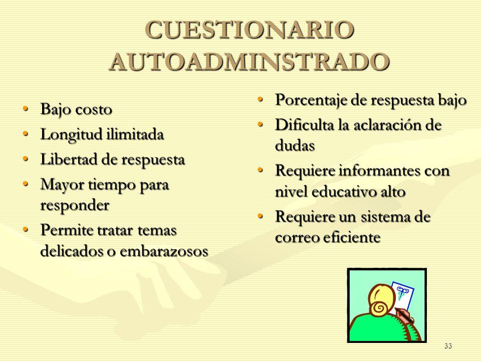 CUESTIONARIO AUTOADMINSTRADO