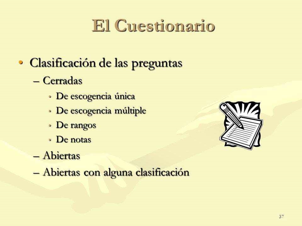 El Cuestionario Clasificación de las preguntas Cerradas Abiertas
