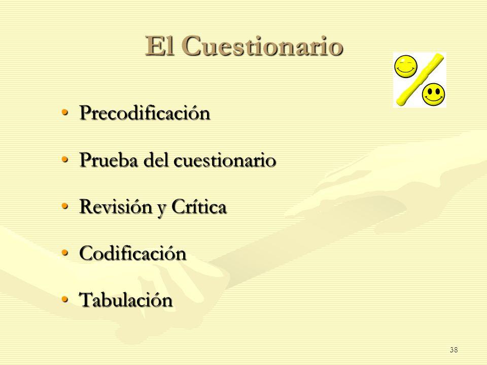 El Cuestionario Precodificación Prueba del cuestionario