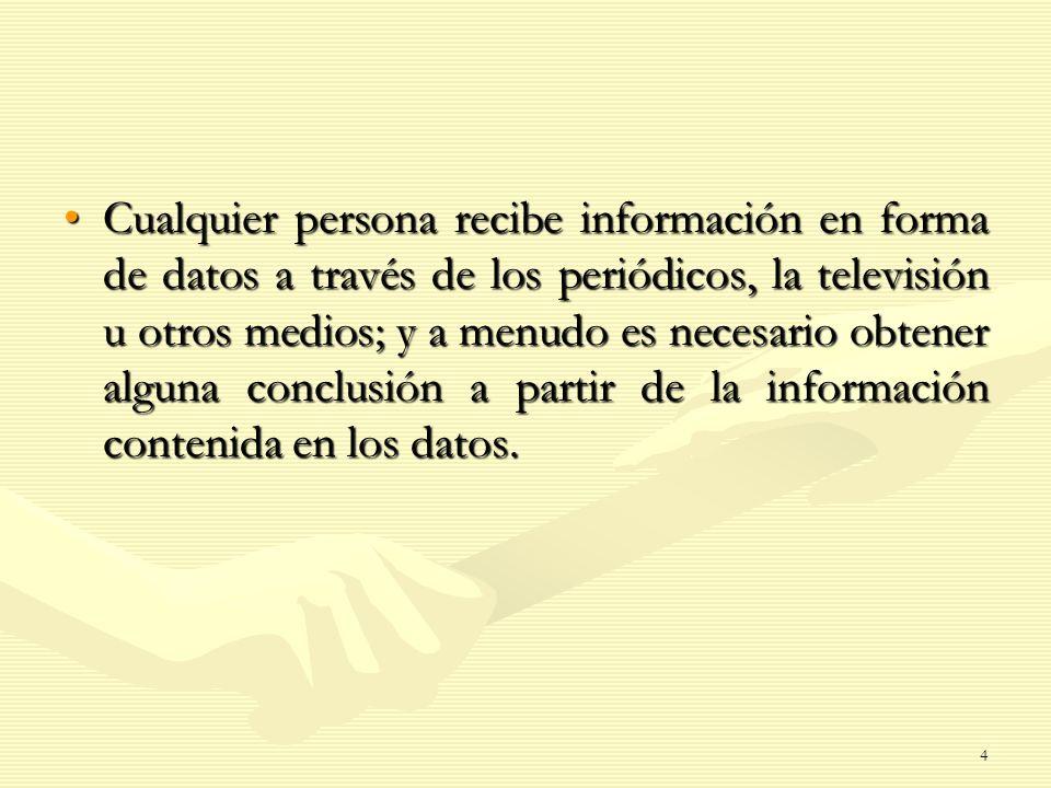 Cualquier persona recibe información en forma de datos a través de los periódicos, la televisión u otros medios; y a menudo es necesario obtener alguna conclusión a partir de la información contenida en los datos.