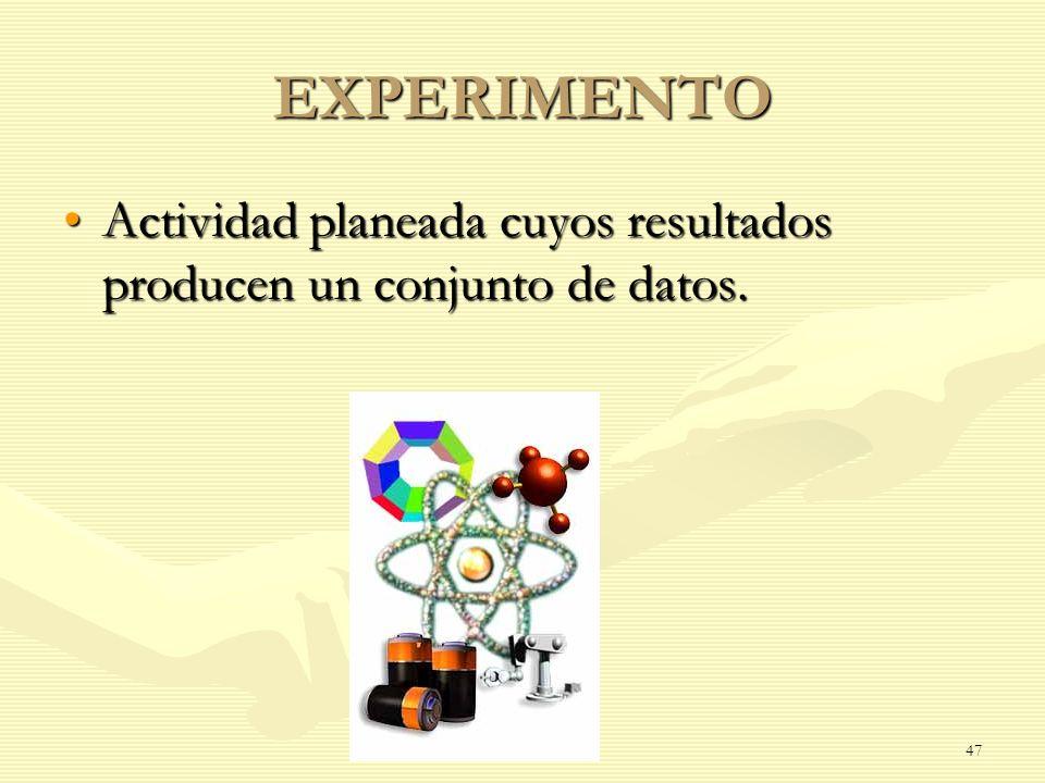 EXPERIMENTO Actividad planeada cuyos resultados producen un conjunto de datos.